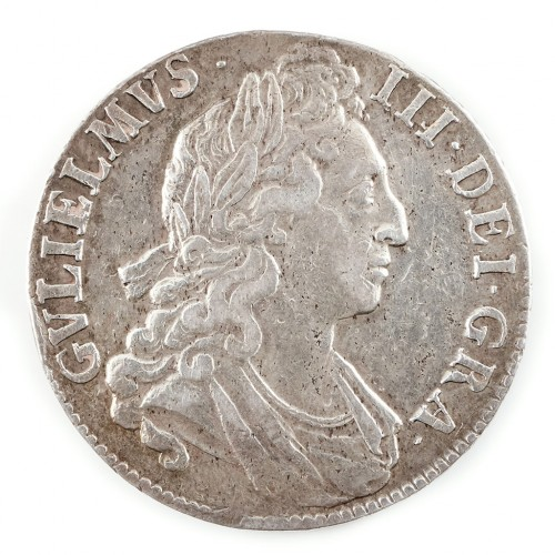 Scarce William III, Silver Crown, Septimo with Cinquefoils on Edge 1695