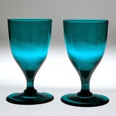 Pair Peacock Blue Wine Glasses c1800
