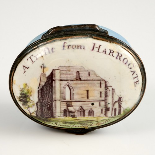 A Georgian Enamel Oval Box with hinged Cover Depicting Knaresborough Castle  Circa 1780