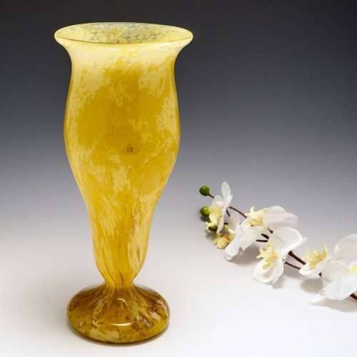 A Schneider Mottled Glass Vase c1925