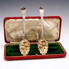 Pair Georgian Silver Berry Spoons London 1795 With case