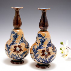 A Pair of Doulton Lambeth Stoneware 'Slaters Patent' Gourd Shape Vases c1896