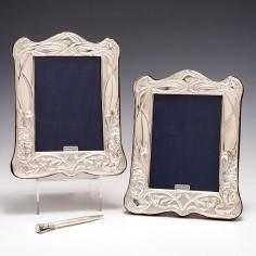 Pair Sterling Silver Art Nouveau Style Photograph Frames