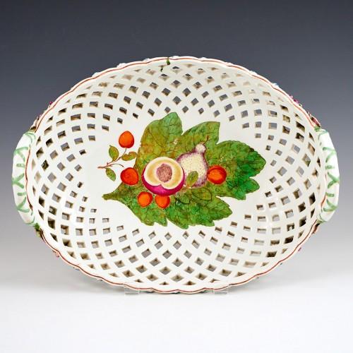 A Chelsea 'Red Anchor Period'  Porcelain Pierced  Oval Fruit Basket c1755