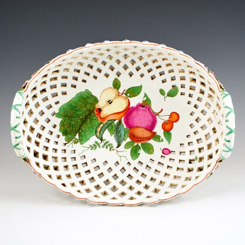 A Chelsea 'Red Anchor Period'  Porcelain Pierced  Oval Fruit Basket 1752-55