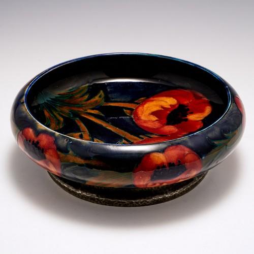 A William Moorcroft Pottery 'Big Poppy'  Bowl with Tudric Pewter Base c1920