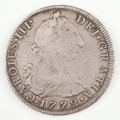Charles III Silver Eight Reales (Piece of Eight) 1772, Mexico Mint FM (Inverted)