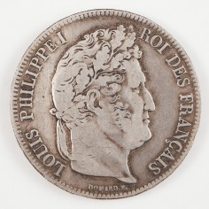 Louis Philippe I Last King of France Silver Five Francs, 1838