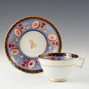 A New Hall Porcelain Tea Cup and Saucer c1820