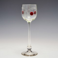 An Engraved Theresienthal Wine Glass With Applied Cherries c1910