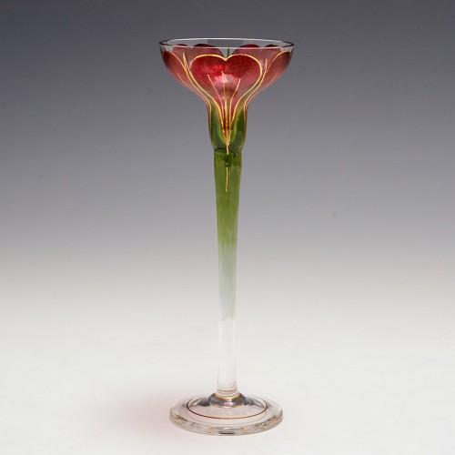 A Fritz Heckert Crocus Flower Liqueur Glass c1905