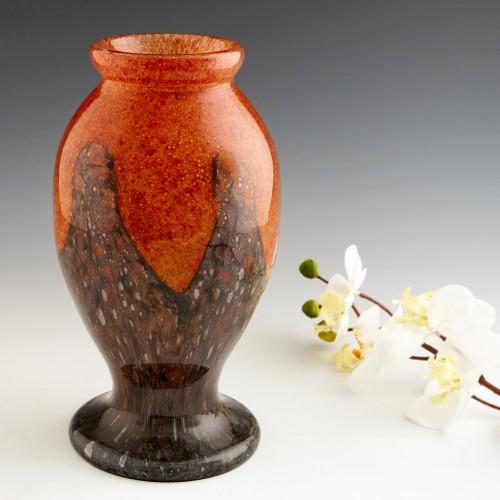 French Cased Mottled Glass Vase c1930