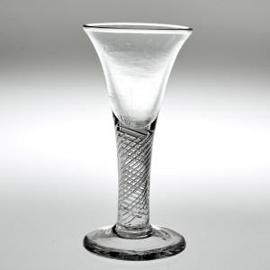 Georgian Short Wine Glass With Air Twist Stem c 1750
