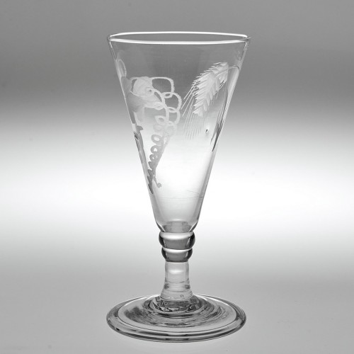 An Engraved Georgian Ale Glass With Folded Foot c1810