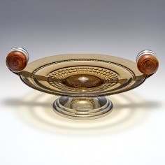 A French Glass Twin Handle Table Centrepiece c1925