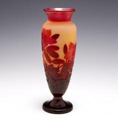 A Galle Three Colour Cameo Hibiscus Vase c1925