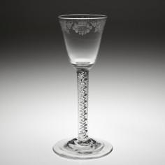 Rococo Engraved Georgian Mercury Twist Wine Glass c1760