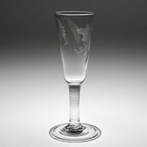 A Tall Engraved 18th Century Plain Stem Ale Glass c1750