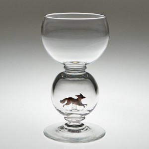 William Swingewood For Stevens and Williams Lampwork Fox Wine Glass c1928