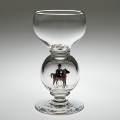 William Swingewood For Stevens and Williams Lampwork Horse and Huntress Wine Glass c1928