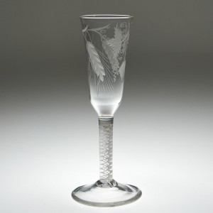 A Very Finely Engraved Tall Opaque Twist Stem Ale Glass c1760