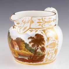 A Derby Robert Bloor and Co Porcelain  Landscape Jug 1815-20