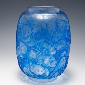 Rene Lalique Blue Stained Monnaie Du Pape Vase Designed 1914