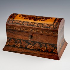 Two Compartment Domed-top Tea Caddy Depicting Roses & Poppies c1870