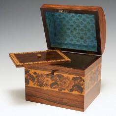Tunbridge Ware - Rectangular Victorian Tea Caddy With Domed Lid c1850