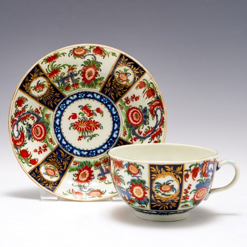 Worcester Queen's Pattern Tea Cup And Saucer c1770