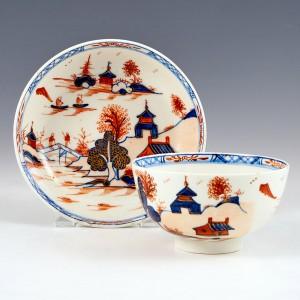 Lowestoft Dolls House Pattern Tea Bowl and Saucer c1790