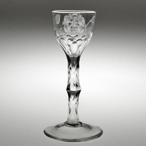 A Single Bud Jacobite Sympathy Wine Glass c1770
