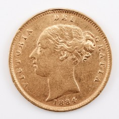 Victoria Gold Half-Sovereign, Young Head Shield Back Type, 1884
