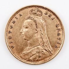 Victoria Gold Half-Sovereign, Jubilee Head Shield Back Type, 1892
