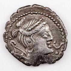 Roman Republic Ti Claudius Ti F AP N Nero, Silver Serrated Denarius, c79BC