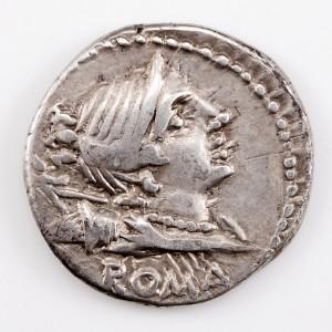 Roman Republic, Alus Postumious Albinus, Silver Denarius, Diana/Horseman, 96 BC