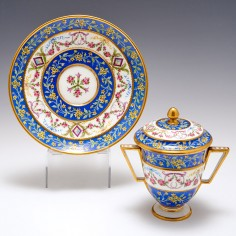 Sèvres Double Handled Cup, Cover and Stand 1791
