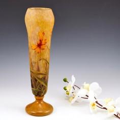 Daum Nancy Cameo Vase With Marigolds c1910