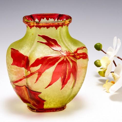 Baccarat Quatrefoil Cameo Glass Vase c1910