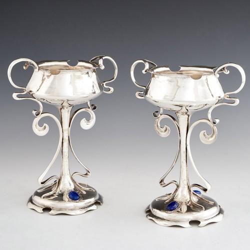 A Pair Of Art Nouveau Sterling Silver Coupes 1907