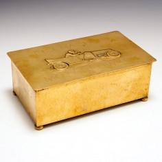 WMF Lidded Brass Cigar Box made for Eisenacher Motorenwerk c1905