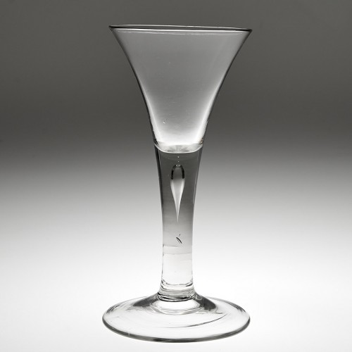 Tall Georgian Plain Stem Wine Glass With Air Tear c1750