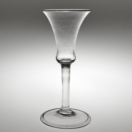 A Fine Georgian Bell Bowl Wine Glass With Folded Foot c1745