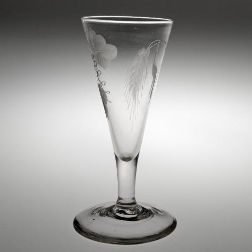 Wheel Engraved Georgian Ale Glass c1760