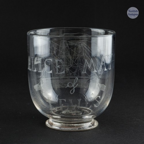 Victorian Beaker Engraved With A Square Rigged Barque 1886