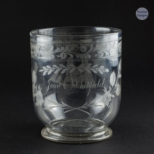Victorian Engraved Glass Beaker The Brig Jane Whitfield c1880
