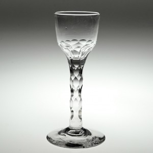 An Early Georgian Facet Cut Stem Wine Glass c1770