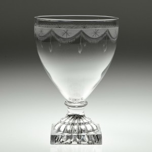 A Rococo Engraved English Glass Rummer c1800