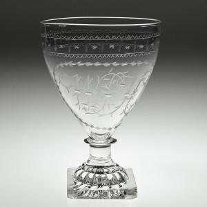 Engraved Georgian Glass Rummer c1800