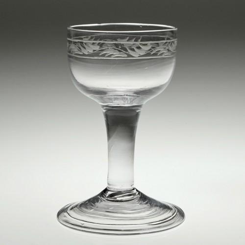 An Engraved Georgian Dram Glass c1760
